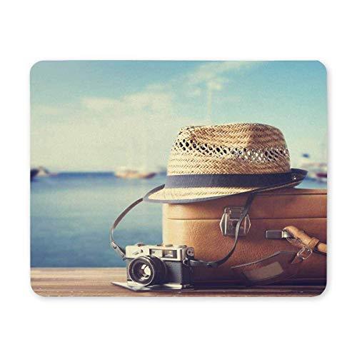 Maleta vintage Hipster sombrero y cámara de fotos con playa tropical del mar Viaje de verano Rectángulo antideslizante Alfombrillas de ratón Alfombrillas de ratón / Alfombrillas de ratón Funda para of