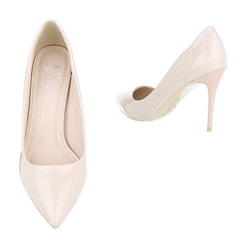 High Heel Damenschuhe Plateau Pfennig-/Stilettoabsatz High Heels Ital-Design Pumps Beige 5015-63