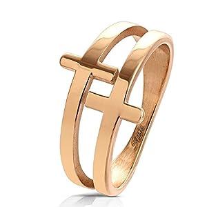 Bungsa® Damen-Ring Kreuze Rosegold Edelstahl