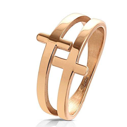 Bungsa 62 (19.7) Damen-Ring Kreuze Rosegold Edelstahl