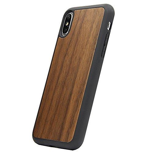 Eco-holz-materialien (UTECTION Holzhülle Cover für Apple iPhone X/Xs ** Eco Echt-Holz Cover Schutzhülle ** Robuste Handyhülle Hardcase ** Hülle Holzcover Woodcase in Walnussholz)