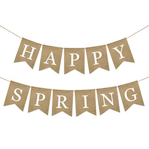 Amosfun GLÜCKLICHER FRÜHLING Bunting Sackleinen Banner Girlande für Frühling Thema Saison Bankett Baby Shower Party Dekoration