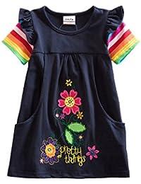 VIKITA Vestido para Niñas Manga Larga Algodón Princesa Casuales Bebe Niñas ...
