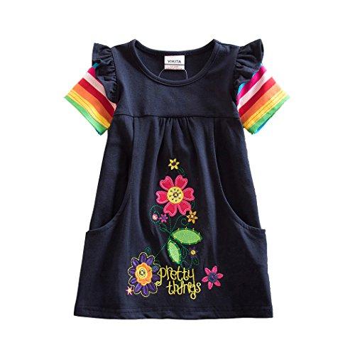VIKITA Mädchen Sommer Streifen Kurzarm Baumwolle T-Shirt Kleid SH5802Long Length 6T