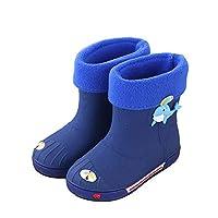 Jelly Rain Boots Kids Cuff Boots Waterproof Rubber Functional Shoes Warm Fleece-Lined Skye Rain Wellies Calf Wellies Outdoor Working Walking