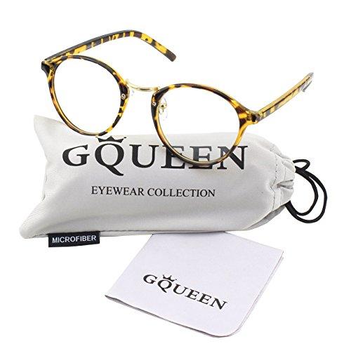 GQUEEN Vintage Inspirierte Hornbrille Metallbrücke Klare Gläser Brille PS5
