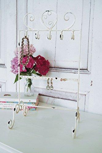 Schmuckständer, Schmuckhalter im Shabby Chic Landhaus Stil mit weißer Patina