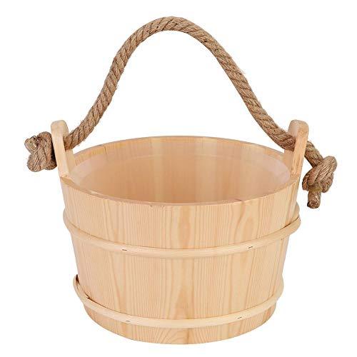 Focket Sauna Eimer, 6L Holz tragbare wasserdichte Sauna Barrel auslaufsichere Sauna-Set Saunazubehör mit einem Seil Griff Design für Spa-Dusche Lieferungen Bad Whirlpools