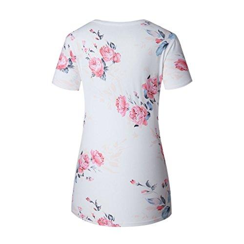 NiSeng Damen Sommer Kurzarm Tops Blumen Tops Rundhals Strand Schöne Print Shirts Weiß