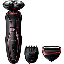 Philips Click & Style S738/20 - Afeitadora 3 en 1, con 3 cabezales ComfortCut, para afeitado, recorte y para arreglo personal, negro y rojo