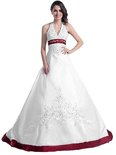 Edaier Frauen Perlen Halfter bestickt Satin Kleid Vintage Braut Brautkleid Größe 40 Beige Burgund