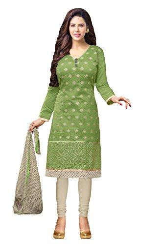 Applecreation Women's Dress Material (DRD49006_Light Green)