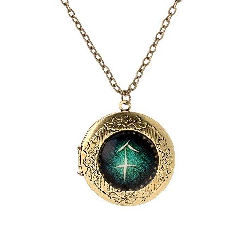 Horoskop Anhänger 12 Sternzeichen Kette Foto Medaillon zum Öffnen Glas Nachtleuchtend Halskette Schmuck für Damen/Herren Geschenk (Fische)