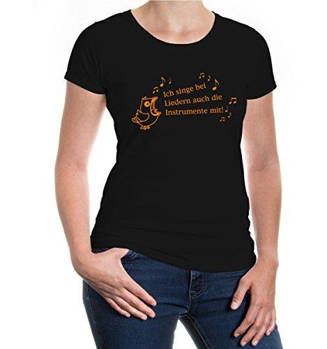 buXsbaum® Girlie T-Shirt Ich singe auch die Instrumente mit Black-Neonorange