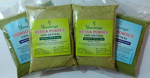 Yauvanya Combo 100% puro henné polvere per capelli 2x 100gms e Yauvanya 100% puro indigo polvere per capelli 2x 100gms.