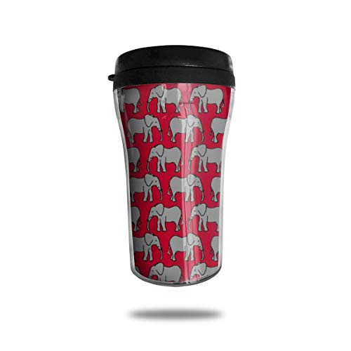 OUYouDeFangA - Taza de café portátil con diseño de Elefantes Negros y Tapa de 8.54 onzas
