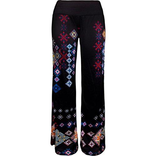 NiSeng Donne Casual Pantaloni Di Gamba Larga Stampa Floreale Pantalone Palazzo Mode Pantaloni A Zampa Pantaloni Di Yoga 2#
