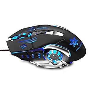 Zinq Technologies 1070 3200 DPI LED Backlight 6 Button USB Gaming Mouse with Nylon Braided Cable (Black)