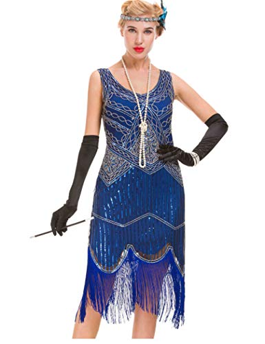 GVOICE Damen 1920er Jahre Vintage Kleid - Fransen Great Gatsby Kleid (Blau, 3XL(UK 20 / EU 48) Bust 45.7)