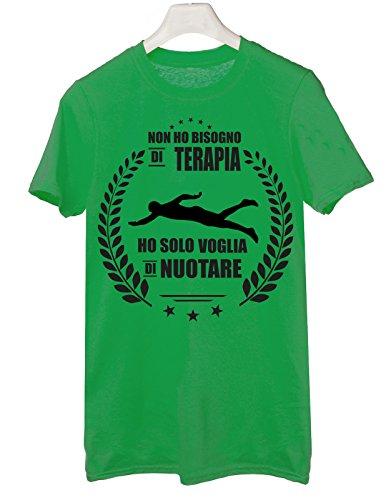 Tshirt non ho bisogno di terapia ho solo voglia di nuotare - Tutte le taglie by tshirteria Verde