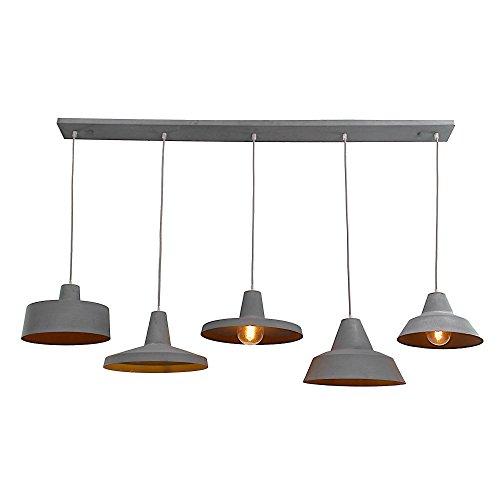 –Lámpara de techo con 5focos, 5x E27Max. 60W, metal, gris hormigón