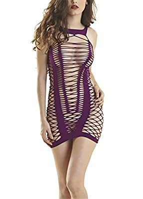 Qiufeng Women Seamless Net Mini Chemise Dress Lingerie babydoll Bodycon Bodysuit