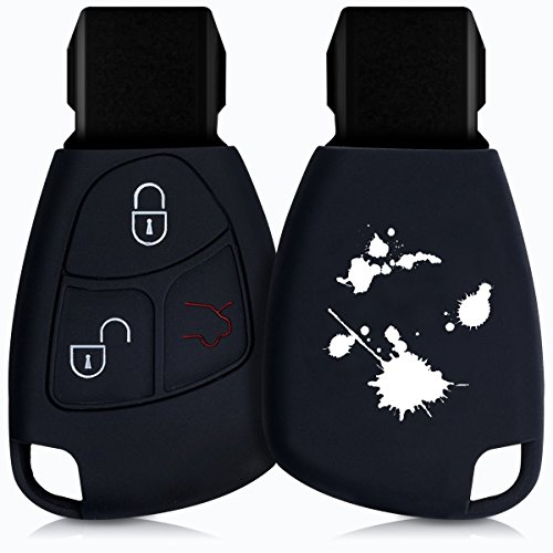 kwmobile Autoschlüssel Hülle für Mercedes Benz - Silikon Schutzhülle Schlüsselhülle Cover für Mercedes Benz 2-3-Tasten Autoschlüssel Weiß Schwarz