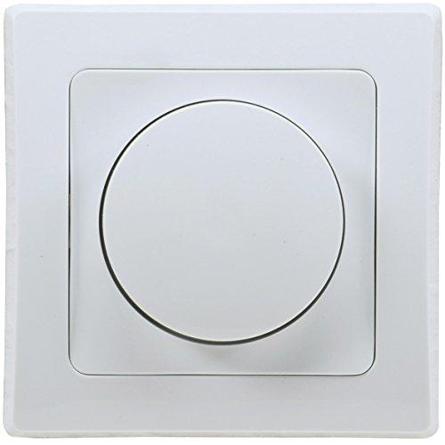 DELPHI LED Dimmer Dimm-Schalter I Unterputz I 230V I LED 3-35W I Halogen 7-110W I inkl. Rahmen I Drehknopf I weiß