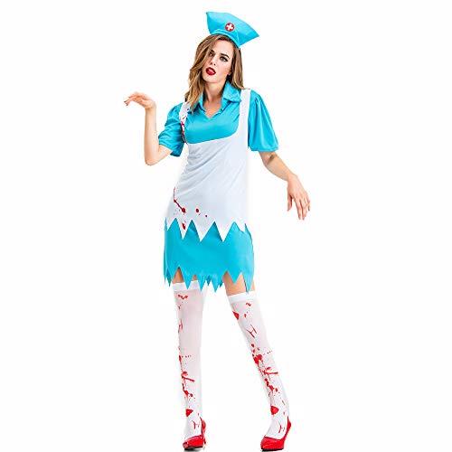 Womens Kostüm Scrub Krankenschwester - Womens Zombie Krankenschwester Kostüm, Horror Bloody Ghost Cosplay für Erwachsene, Krankenschwester Uniform Outfit Dress Up für Frauen,L