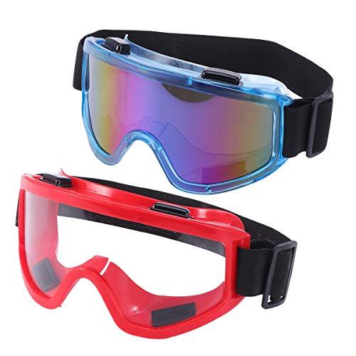 NUOBESTY 2 Piezas Gafas de Deporte al Aire Libre Gafas para Montar a Prueba de Viento máscara a Prueba de Polvo (Azul y Rojo)