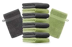 10er Pack Waschhandschuhe Waschlappen Premium Größe: 16x21 cm Farbe Anthrazit Grau & Apfel Grün Kordelaufhänger 100% Baumwolle