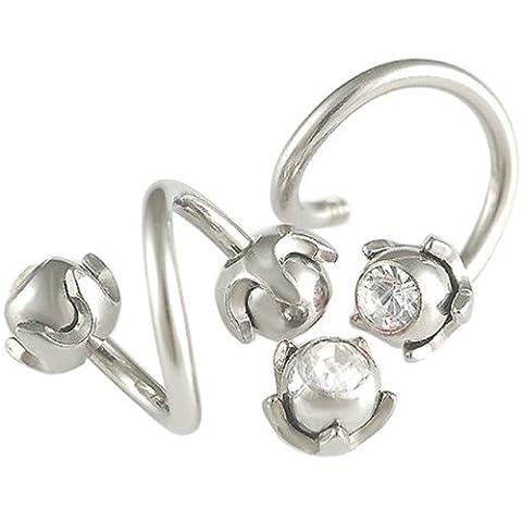paire arcade spirale cartilage oreille helix anneaux acier 1,6mmx10mm bijoux piercing Clair FKQM