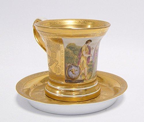 Luxus Pur UG Filgrane Kaffetasse mit Untertasse in Gold - aus Porzellan Handbemalt