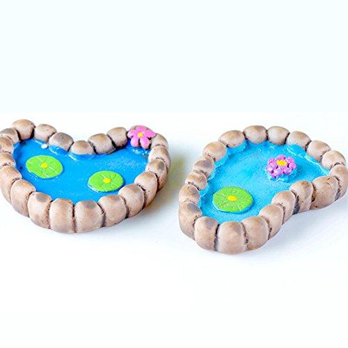 Steellwingsf Lotus-Teich-Miniatur-Landschafts-Ornamente für den Garten, Bonsai-Dekoration, 2 Stück, Kunstharz, Multi, Einheitsgröße