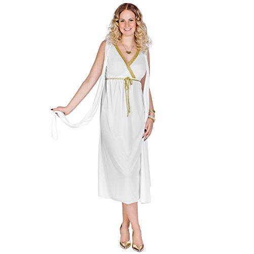 Hexe Damen Erwachsene Bezaubernd Kostüme (Frauenkostüm griechische Schönheit Penelope | Langes, wunderschönes Kleid | Angenähte Schärpen an den Oberarmen | Goldener Bindegürtel (M | Nr.)