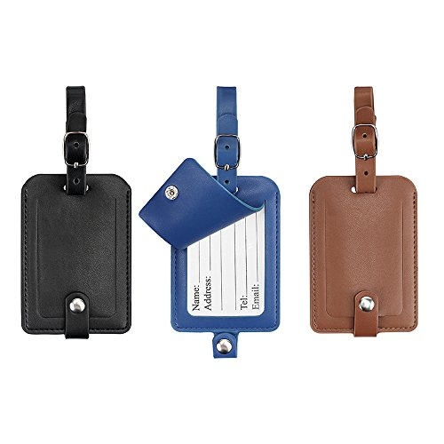 Gepäckanhänger, Galopar PU Lederkoffer ID Tags Reise Gepäck Handtasche Tag Etiketten Reise Zubehör (Black+Khaki+Blau) (Reise-gepäck-tag)