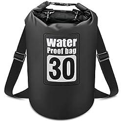 Powcan Sac Étanche, Dry Bag Sac à Dos 30L Sacoche Etanche Sac de Rangement à Sec en PVC 500D avec Double Sangle pour Camping Nautique Kayak Pêche Rafting Natation
