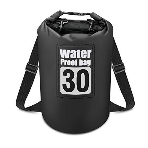 Powcan Premium Bolsa Estanca (30L) Mochila Impermeable con Correa de Hombro Ajustable para Kayak Rafting Pesca Natación Playa Senderismo Camping