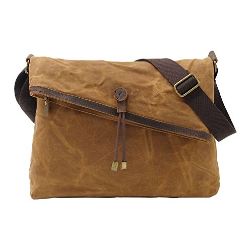 Fold-over Satchel (VRIKOO Waxed Canvas Crossbody Bags Vintage Leather Trim Fold Over Waterproof Messenger Satchel Bag Unisex)