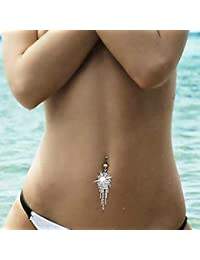 Pixnor Corps chaud strass Tassel nombril Dangle ventre anneau barre de boutons bijoux Piercing