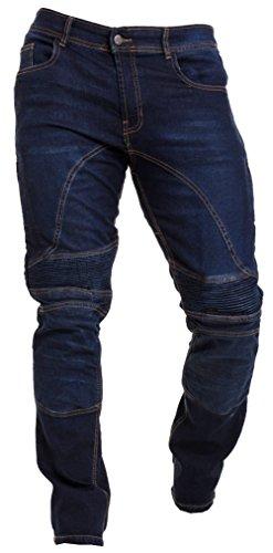 Qaswa Herren Motorradhose Jeans Motorrad Hose Motorradrüstung Schutzauskleidung Motorcycle Biker Pants-32W / 34L-Dark Blue