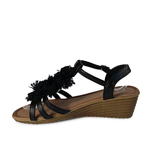 Damen Sandalen Sandaletten Römer Glitzer Kette BB23 Schwarz