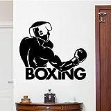 GJQFJBS Adesivo murale pugile Decorazione per la casa Decorazione rimovibile Adesivo murale moda Adesivo murale creativo Boxing Club Decorazione marrone 58x50cm