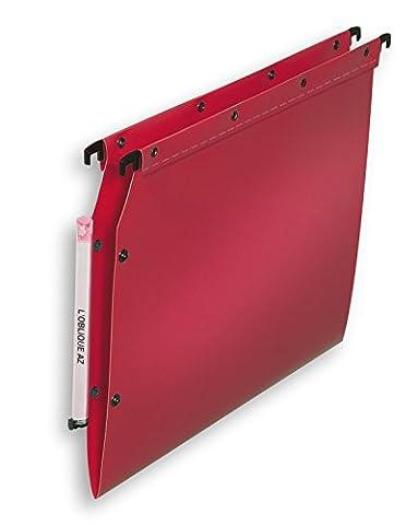 L'Oblique AZ Polypro Ultimate Boite de 10 Dossiers suspendus pour armoire fond V Rouge