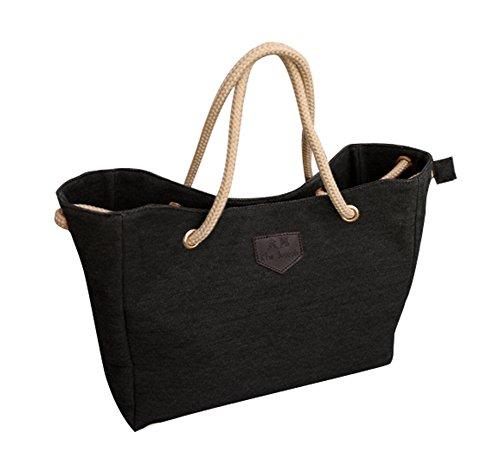 AOLVO XL Canvas Tote Bag Fashion Frauen Handtasche Einkaufstasche, Vintage Hobo Schultertasche Tasche mit Reißverschluss Tasche für Lady Mädchen, große Kapazität und einfaches Design, Multi Colo Schwarz