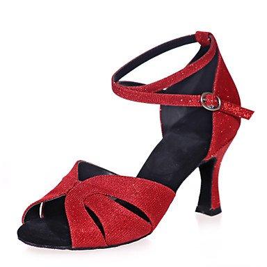 Silence @ Chaussures de danse pour femme Paillettes étincelante Paillettes scintillantes latine Sandales Talon évasé Practiceblack/bleu/marron/rouge/ Silver