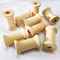 Lyanther 20 Pieces Unfinished Wooden Spools Thread Bobbins Cord Wire Coils Sewing Notions 27mmX16mm
