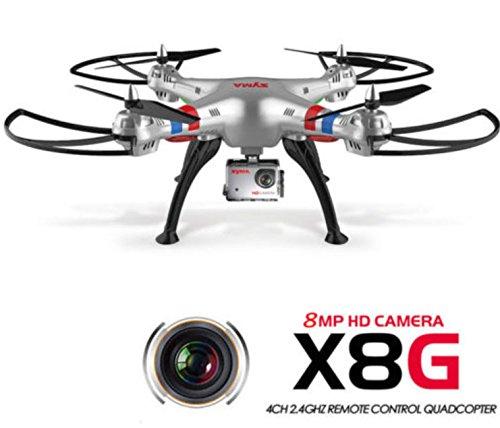 Preisvergleich Produktbild Deutschland Hillicom Syma X8G Drohne RC Quadcopter 2,4GH 6 Axis 4CH 8MP HD Kamera Headless 3D 360° silber