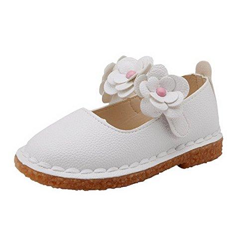Ahatech Ballerines Fille Princesse Chaussures Enfant Bebe Plates Velcro Ceremonie Mariage à Fleurs Blanc