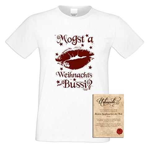 Weihnachten Fun T-Shirt als einzigartiges Weihnachtsgeschenk oder Weihnachts-Markt Advents Outfit Mogst a Weihnachts-Bussi Geschenk Idee mit Spass-Urkunde Farbe: weiss Weiß